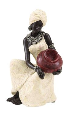 """Table Top Polystone African Figure 10""""H, 6""""W Sculpture"""