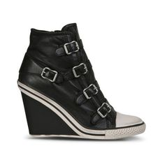 Ash Women's Thelma Leather Wedged Trainers - Black ($125) ❤ liked on Polyvore featuring shoes, sneakers, black, ash sneakers, leather sneakers, sports trainer, wedge sneakers and black wedge heel sneakers