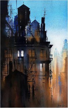 Thomas W Schaller 'The World was Quiet' (watercolor)