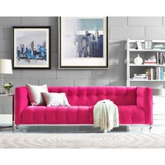 Our Bea sofa is a true a beauty. This rich hot pink velvet upholstered sofa is designed with a deep seat, luxe tufting and Lucite legs. Bea adds style and color to any room. Beige Couch, Pink Couch, Living Room Modern, Living Room Sofa, Living Room Furniture, Living Room Decor, Blue Velvet Sofa Living Room, Velvet Bedroom, Blue Sofas