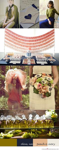 wedding color palette: navy, olive, peach and ivory......kinda but rather than ivory and peach...more tangerine and white.