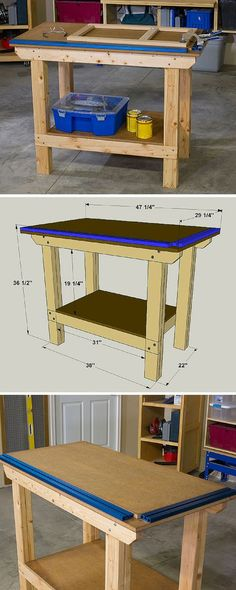 This workbench is easy to build, but built to withstand heavy use. Plus, it offers a versatile benchtop, thanks to a Universal Clamp Trak Kit from Kreg that's mounted along the front and one end. Combined with a couple of Kreg Bench Clamps, this makes a slick setup for holding pieces while you work. Get the free DIY plans at buildsomething.com