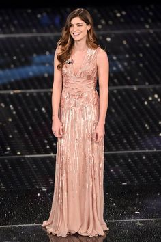 Vittoria Puccini wears ELIE SAAB Resort 2015 to the '65th Festival di Sanremo' in Italy.