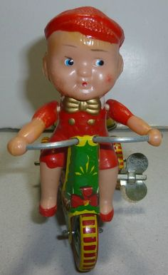 Vintage Ringing Tricycle Tin Toy 1970s by thecollectiblechest