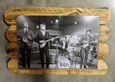 The Beatles Retro Metal Poster Framed in Distressed Pinewood by ArtMaxAntiques on Etsy