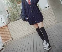 Image result for korean knee high socks and converse
