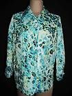 """CHICOS Sz 0 S Turquoise Leopard Print Jacket Layering Shirt Lightweight 38"""" Bust"""