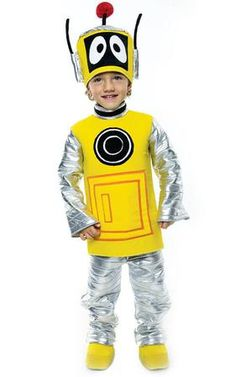 This Plex, the magic robot costume for toddlers is perfect for a fun trick or treating adventure for Halloween. Our Yo Gabba Gabba Deluxe Plex Toddler Robot Costume includes shirt, pants, shoe covers and hat. This robot costume is available in toddler sizes 3-4T.