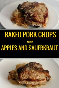 pork chops with apples and sauerkraut! Delicious and easy recipe that is also low-fat, low-carb and gluten-free! This can also be made in the slow cooker! A super comforting meal!