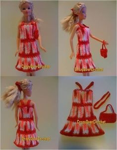 Free Dolls and Doll Clothes Crochet Patterns Barbie Clothes Patterns, Crochet Barbie Clothes, Doll Clothes Barbie, Doll Dress Patterns, Barbie Dress, Clothing Patterns, Crochet Gratis, Cute Crochet, Knitted Dolls