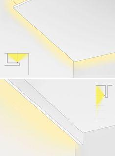 Ideas for Home Lighting Design Ceiling Light Design, False Ceiling Design, Lighting Design, Ceiling Lights, Cove Lighting Ceiling, Ceiling Ideas, Hidden Lighting, Lighting System, Strip Lighting