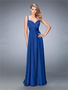 Graceful A-ine Gathered Beaded Bodice Chiffon Prom Dress PD12215