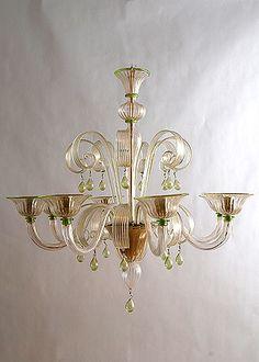 Italian Antique Light Green Murano 8-light Chandelier