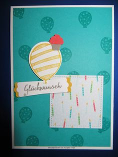 MtS Sketch 166:   Stampin up CS weiß, bermudablau, currygelb, taupe und melonensorbet / Farbe currygelb, bermudablau und taupe / Stempel Partyballons, Party-Grüße und Ballonparty / Thinlits Pop-up-Ballons / Framelits Stickmuster / Stanzen Luftballons, Muffin und modernes Label / DP im Block Bunte Party