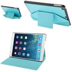 [USD4.36] [EUR3.95] [GBP3.07] Multi-folding Cross Texture Leather Case with Sleep / Wake-up Function & Holder for iPad Air (Blue)