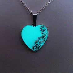 Aqua Glowing Necklace Glowing Jewelry  Glow by BespokeInnaDesign