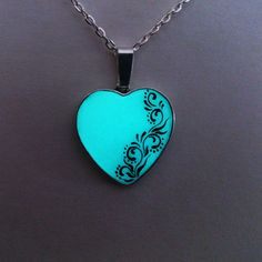 Aqua Glowing Necklace, Glowing Jewelry, Glow in the Dark Heart, Glowing Pendant, Gifts for Her, hand painted OOAK £15.50