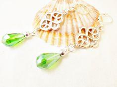 Peridot crystal drop elegant artdeco earrings, vintage style lime green teardrop ear jewelry, art nouveau earrings by 10dollarjewellery on Etsy