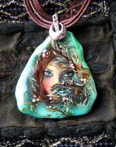 "Кулон ""Омут"" - миниатюра,кулон,масляная живопись,женщина,камень,масло"
