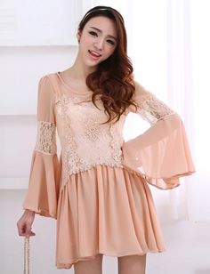 Women Sweet Lace Panel Wide Round Neckline Flare Sleeve Dress - Item 694578 at Eastclothes.com