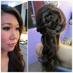 Wedding day dinner makeup & hairdo, bride Abbie. #bride #hair