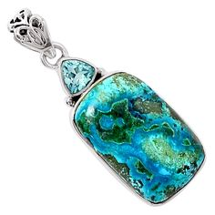 "Xtremegems Malachite In Chrysocolla & Blue Topaz 925 Sterling Silver Pendant Jewelry 1 1/2"" 7894P -- Awesome products selected by Anna Churchill"