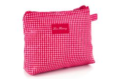 Here's a cosmetics bag too lovely to stash away. The vinyl-coated exterior, durable lining, and sturdy zipper closure ensure that this bag is as practical as. Red Gingham, July 4th, Cosmetic Bag, Favorite Things, Bring It On, Inspired, Beach, Fashion, Moda