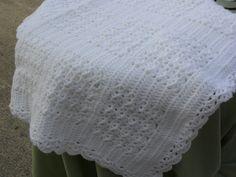White Crocheted Baby Blanket