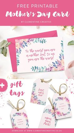 Free printable Mother's Day card with matching gift tags. Click here to download! Simple and nice!