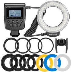 Macro LED Ring Flash Package (with 4 Difussers and 8 Lens Adapters) – Camera Gear Store