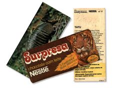 Chocolate Supresa, vinha com cards falando sobre os animais.