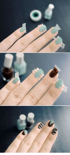 Simple geometric nail art using tape. Absolutely love these two colors together!