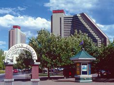 View of Victorian Square, to include the arch entrance way, John Ascuaga's Nugget casino, in Sparks, NV