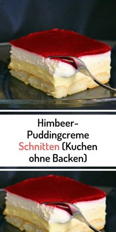 Raspberry pudding cream slices (cake without baking) # raspberry .- Himbeer-Puddingcreme Schnitten (Kuchen ohne Backen) Raspberry pudding cream slices (cake without baking) - Cupcake Recipes, Dessert Recipes, Easy Smoothie Recipes, New Cake, Pumpkin Spice Cupcakes, Cinnamon Cream Cheeses, Mini Cheesecakes, Fall Desserts, Food Cakes