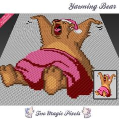 Yawning Bear c2c graph crochet pattern instant by TwoMagicPixels