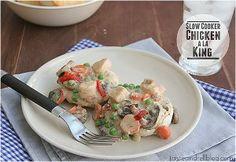 Chicken a la King for Four - Eat like a king with this tasty slow cooker chicken recipe with biscuits.