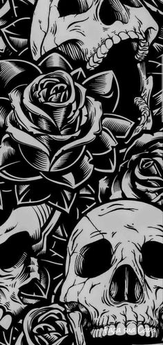 Skulls and Roses wallpaper by I_am_Ayush - 52 - Free on ZEDGE™ Skull Wallpaper Iphone, Et Wallpaper, Halloween Wallpaper Iphone, Wallpaper Backgrounds, Trendy Wallpaper, Wallpaper Quotes, Screen Wallpaper, Hipster Phone Wallpaper, Artistic Wallpaper