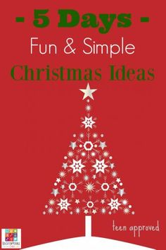 5 Days of Teen Approved Fun and Simple Christmas Ideas  Join us as we share some of our favorite fun and simple Christmas ideas for families with teens. Lots of ideas for gifts. 5 Simple and Affordable Christmas Crafts for Teens to Make 5 Delicious Holiday Desserts Your Teen Will Want to Make (and Eat!) 5 Homemade Christmas Ornaments Teens will want to Make 5 Holiday Foods from Around the World 5 Ways your Family can Give Back this Christmas