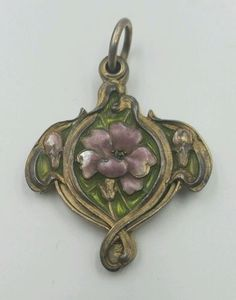 Art-Nouveau-Jugendstil-900-Silver-Plique-a-jour-Enamel-Mirror-Pendant-Posy