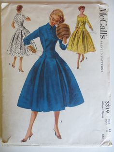 McCall's 3319 Vintage Sewing Pattern Full Pleated One Piece Dress With Rockability Mccalls Sewing Patterns, Vintage Sewing Patterns, Dress Patterns, Fashion Patterns, Sewing Ideas, 1950s Fashion, Vintage Fashion, Vintage Dresses, Vintage Outfits