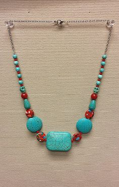 Red & Turquoise Beaded Statement Necklace by BadKittySwag on Etsy, $12.00