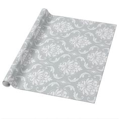Gray White Classic Damask Pattern Wrapping Paper