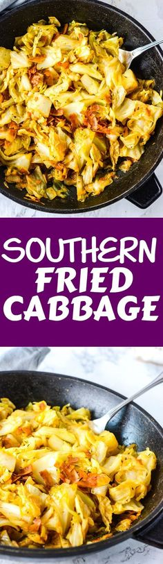 Southern Vegan Fried Cabbage #vegan #glutenfree #soulfood #newyearsrecipes #southernfood h