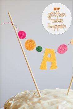 DIY glitter monogram cake toppers. Make one....or grab one! | This Little street : This Little street