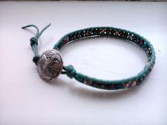 Handcrafted Leather & Gemstone Single Wrap Bracelet-Multi Colour Czech Crystals