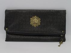 Steampunk Victorian Clutch Bag with Cameo and Brown Crocodile Faux Leather -- Victorian Consort Cobalt Glass, Leather Clutch Bags, Everyday Carry, Leather Interior, Brass Hardware, Victorian Fashion, Evening Bags, Crocodile, Continental Wallet