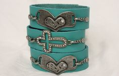 Aqua Leather Cuff Bracelet with metal cross or heart charm on Etsy, $15.00