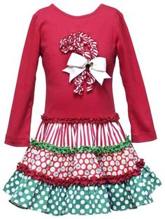 Great Selection of Children's Christmas Clothing and Girls Christmas Dresses. Personalized Children's Christmas Clothing and Pillowcase Dresses. Biscotti Christmas Dresses and more. Red Christmas Dress, Girls Christmas Dresses, Christmas Candy, Christmas Clothing, Christmas Time, Christmas Crafts, Girls Dresses, Sewing Ruffles, Ruffle Fabric