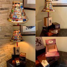 Cigar Box Lamp with Cigar Band LampShade - Modern Car Part Furniture, Automotive Furniture, Automotive Decor, Handmade Furniture, Modern Furniture, Furniture Design, Cigar Lounge Man Cave, Top Cigars, Cigar Box Crafts