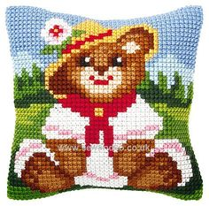 Bear in Hat Cushion Front Chunky Cross Stitch Kit